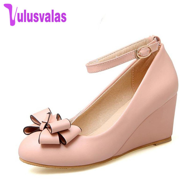 7266269a4e3 VulusValas Women's Wedges High Heels Shoes Women Pumps Bowknot Ankle Strap Round  Toe Shoes Ladies Sample Footwear Size 32-43