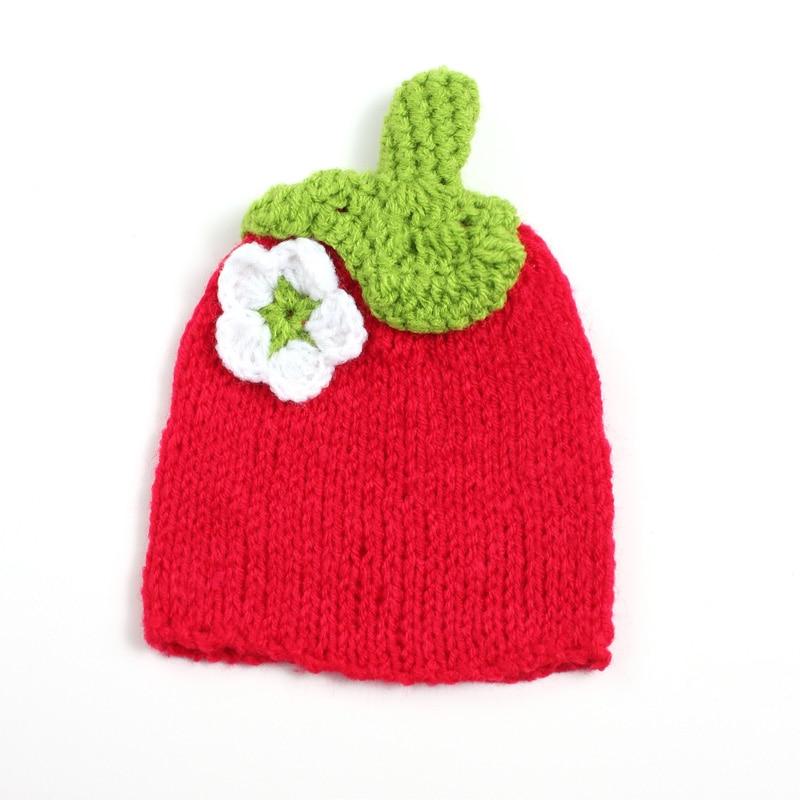Novorozeně dětská vlna roztomilá 100% ručně vyrobená dětská příze Ruka pletená 0-3 měsíců dětská vlna kapuce fotografie strawberry cap