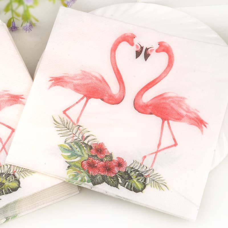New White Beauty Flowers Flamingo Paper Napkins Cafe & Party Tissue Napkins Decoupage Decoration Paper 33cm*33cm 20pcs/pack/lot