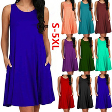 Women Casual Summer Dress Plus Size O-neck Tank Top Loose Clothing Side Pocket Fashion Sexy Ladies Solid Sleeveless Dresses 5XL