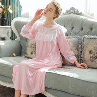 White Autumn Princess Sleepwear Cotton Long Sleeve Women Sleeping Home Dress Sexy Vintage Royal Long Nightdress
