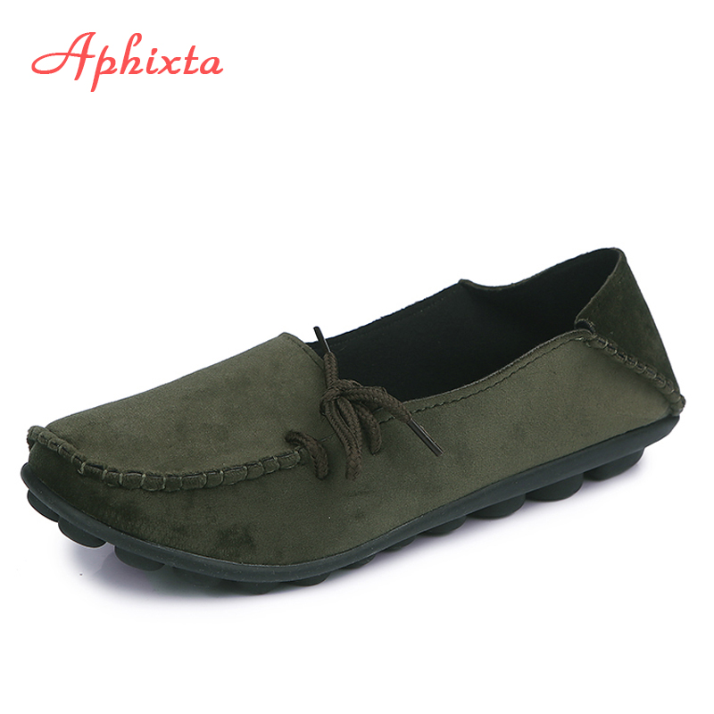 Aphixta Loafers Women Flats Heel leather Shoes Woman 2018 Spring Round Toe Female Ladies Shoes Casual Slip On Shoes Plus Size 44(China)