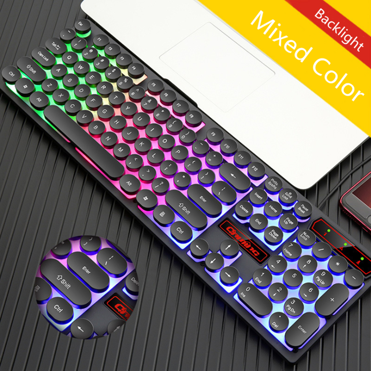 лучшая цена Mechanical LED Wired Backlit Gaming Keyboard Steampunk Keycaps Typewriter USB Computer Peripherals Aluminum Alloy Keyboards