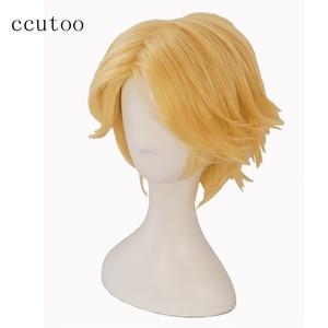 "Image 3 - ccutoo Mystic Messenger 707 saeran 12"" Orange Short Fluffy Layered Synthetic Hair ZEN Yoosung Heat Resistance Cosplay Full Wigs"