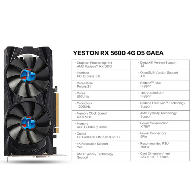 Yeston Radeon RX 560D GPU 4GB GDDR5 128 bit Gaming Desktop computer PC Video Graphics Cards support DVI/HDMI 2