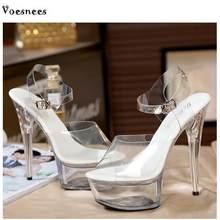 De las mujeres zapatos de mujer Modelo T estación pasarela Sexy de cristal  transparente de 15 CM de alto tacón impermeable cabez. 54fa330fc33d