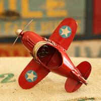 Retro Biplane Model Home Decor Iron Plane Model Iron Aircraft Glider Biplane Pendant Airplane Figurines Status