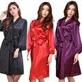 RB088 Rayón Albornoz Mujeres Kimono Bata de Satén Lencería Sexy Camisón Clásico ropa de Noche con Cinturón Hen Party Robes Bata Bridemaid