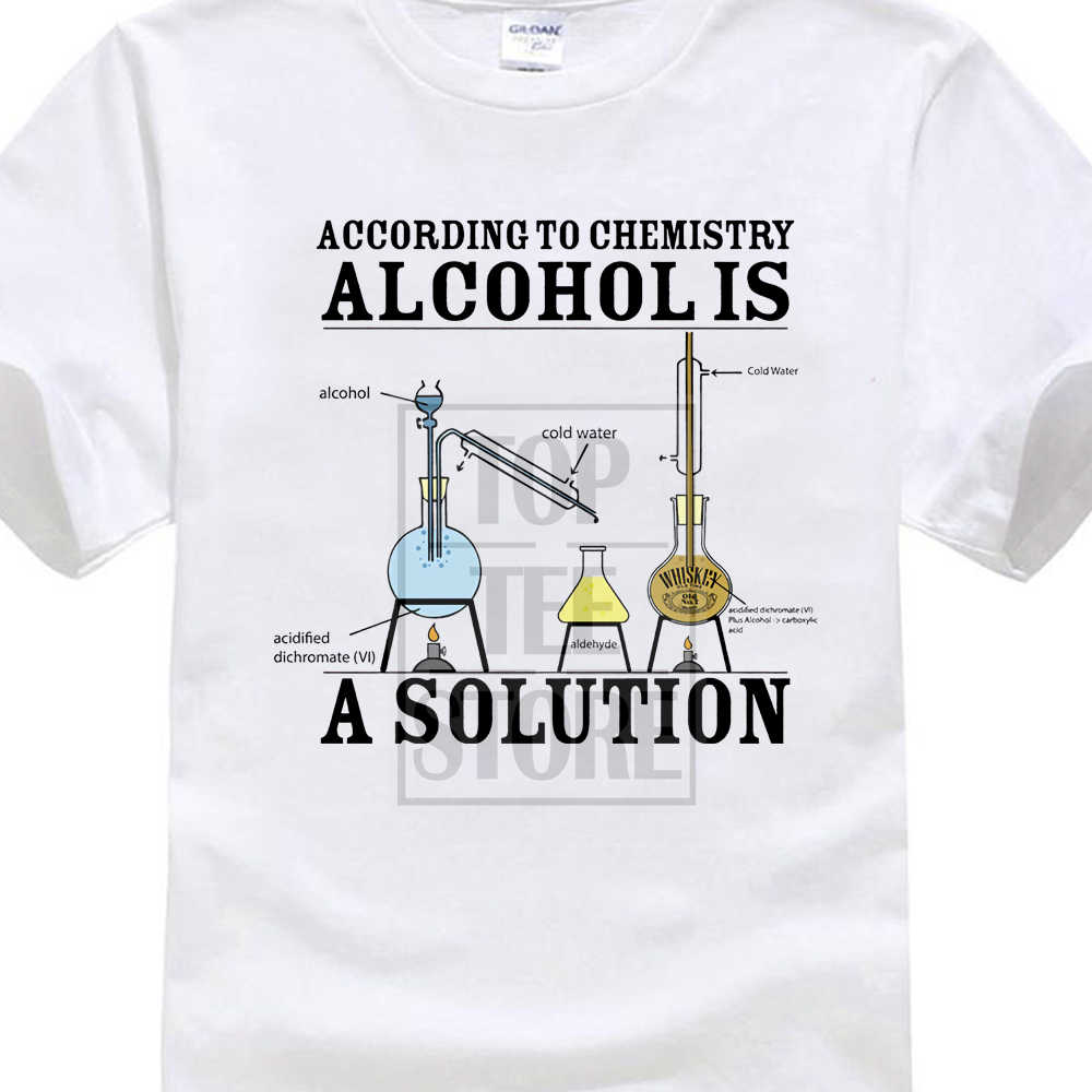 268f3198 Vintage Tee Shirts Alcohol Is A Solution Chemistry Funny Science Drunk  Drinker Printed T Shirt Men'S