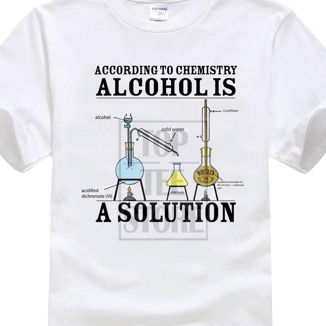 Vintage Tee Shirts Alcohol Is A Solution Chemistry Funny Science Drunk Drinker Printed T Shirt MenS