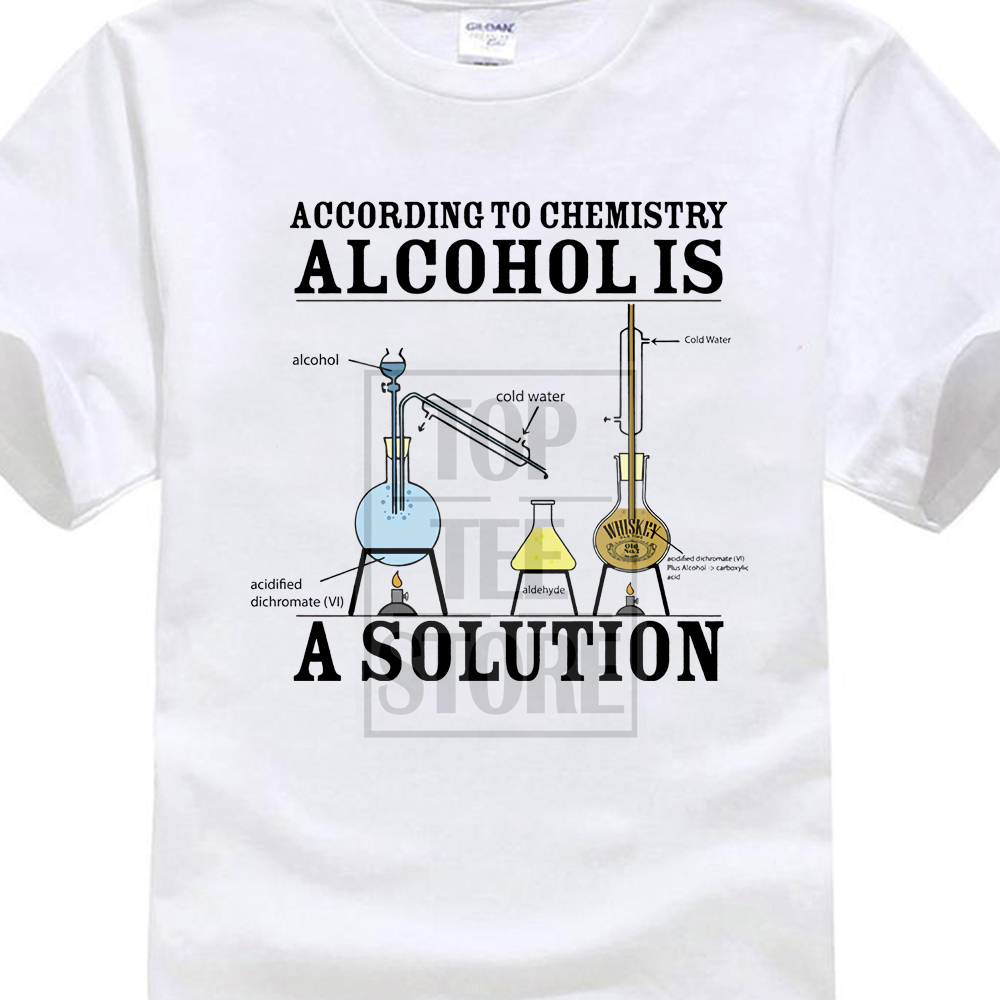 Vintage Tee   Shirts   Alcohol Is A Solution Chemistry Funny Science Drunk Drinker Printed   T     Shirt   Men'S Fashion Tees Hipster Tops