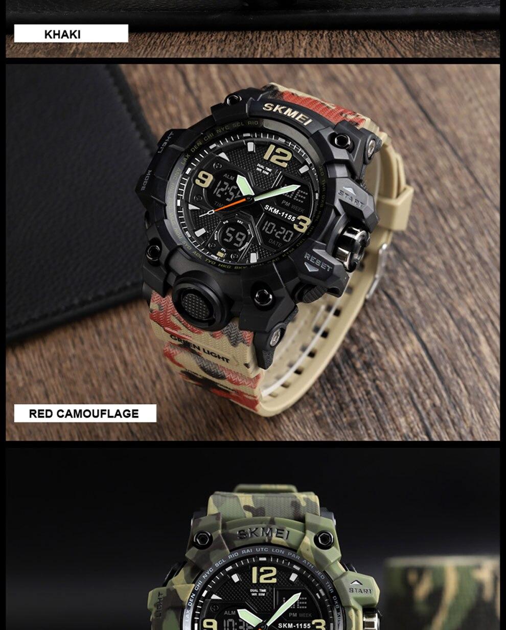HTB1IHlARAvoK1RjSZFwq6AiCFXaP SKMEI Brand Luxury Military Sports Watches Men Quartz Analog LED Digital Clock Man Waterproof Dual Display Wristwatches Relogio