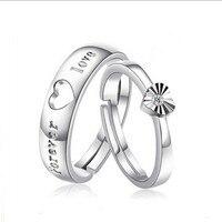 ที่ดีวาเลนไทน์ของขวัญวัน!ชุบเงินFOREVER LOVEแหวนสำหรับคู่1คู่แหวนแต่งงานปรับ
