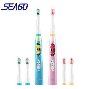 Image 1 - Seago Thương Hiệu Trẻ Em Bàn Chải Đánh Răng Điện USB Sạc Sạc Hẹn Giờ Bàn Chải 3 Chế Độ Âm Bàn Chải Đánh Răng Với 3 Đầu Chăm Sóc Răng Miệng