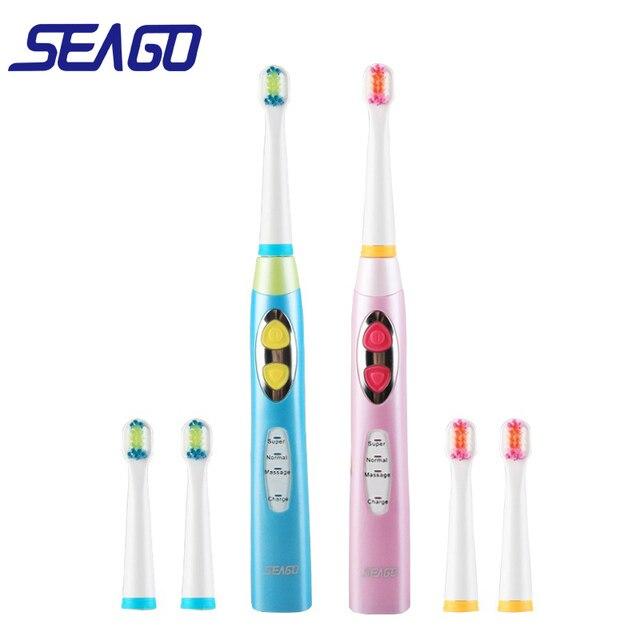 Seago Thương Hiệu Trẻ Em Bàn Chải Đánh Răng Điện USB Sạc Sạc Hẹn Giờ Bàn Chải 3 Chế Độ Âm Bàn Chải Đánh Răng Với 3 Đầu Chăm Sóc Răng Miệng