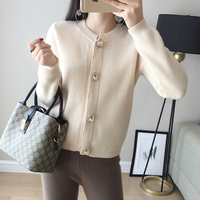 2018 New Knitted Cashmere Blended Cardigan Sweater Women Fall Winter O neck Full Sleeve Female diamond Button Soft Warm Sweater