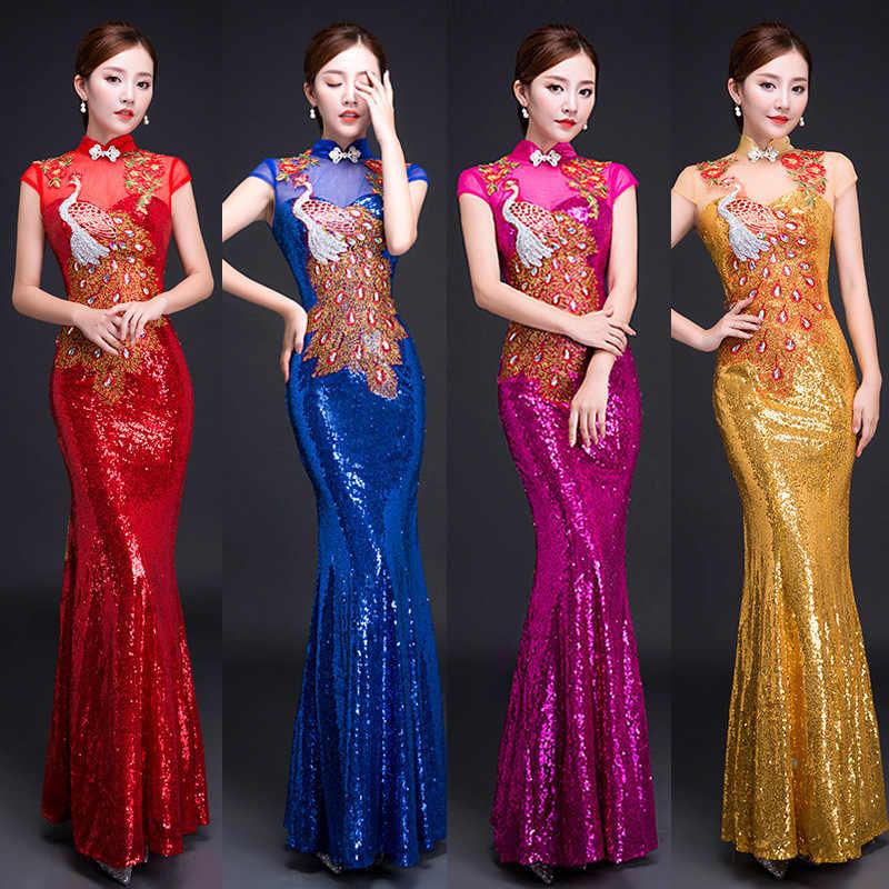 אופנה סיני נשים שמלת ערב הכלה מזרחי חתונה שמלות Qipao Cheongsam שמלה הסיני מסורתי בגדי צ 'י פאו
