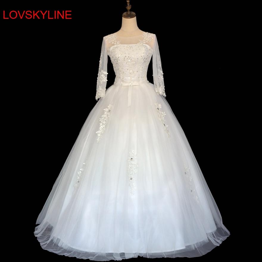 7562efbe1 ⑧جديد العروس تزوج 2018 نصف كم الرباط موجز زائد حجم فستان الزفاف - w705