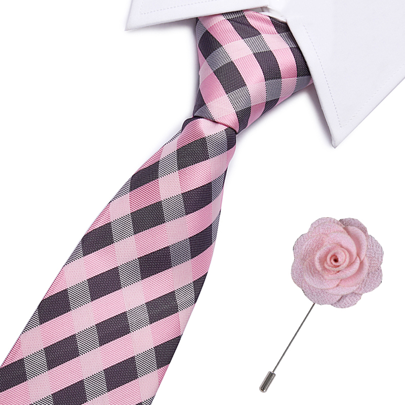 2pcs Casual Silk Ties And Brooches Set Floral Slim Ties For Men 7.5cm Pink White Dot Necktie Gray Skinny Printed Neck Ties