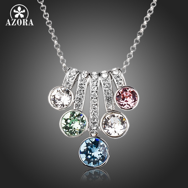 AZORA 5 Series Flower With Colorful Stellux Austrian Crystals Pendant Necklace TN0143