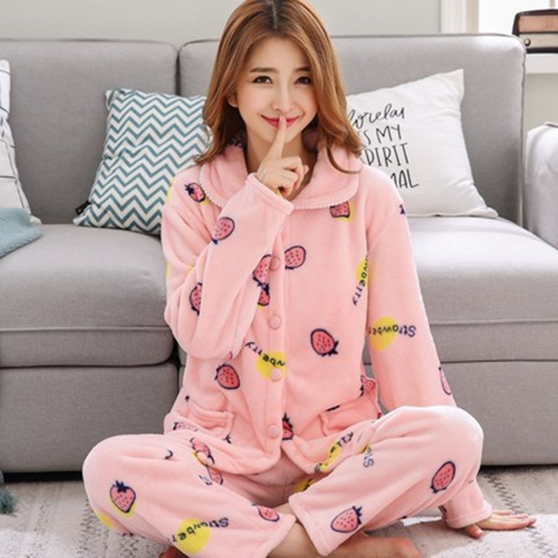 Female Winter Pajamas Set Warm Sexy Flannel Pyjamas Polyester Full Trousers  Lady Two Piece Cute Cartoon Home Sleepwear Clothes 9dda30727