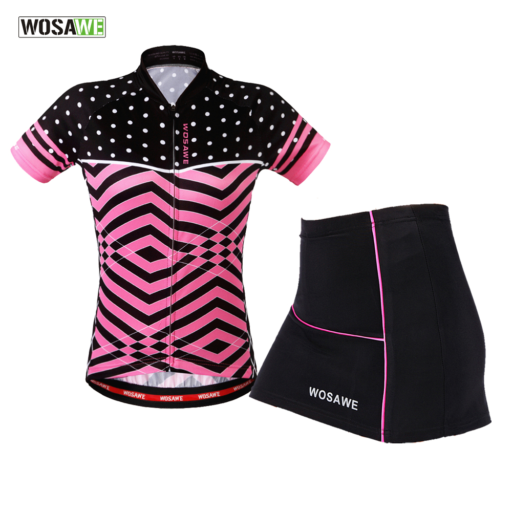 WOSAWE Cycling Clothes Teams Mini Skirt + Shirt Ropa Ciclismo Short sleeve Cycling Jersey Sets Breathable MTB Bike Clothing