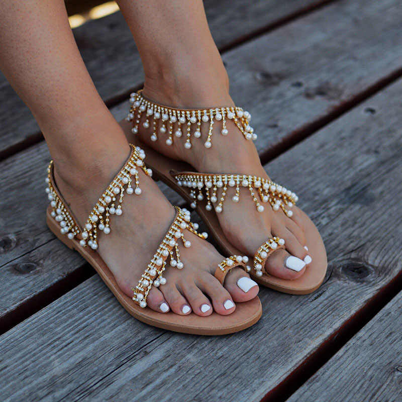 4f775e0e2870f4 ... TINGHON Summer Women Sandals Flat Heels Fashion Sweet Girls Shoes  String Bead Beach Shoes Female Comfortable ...