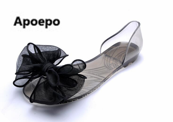 Apoepo 2017 New style sandals summer butterfly-knot jelly shoes flat casual women shoes beach vacation comfortable 35-40 size