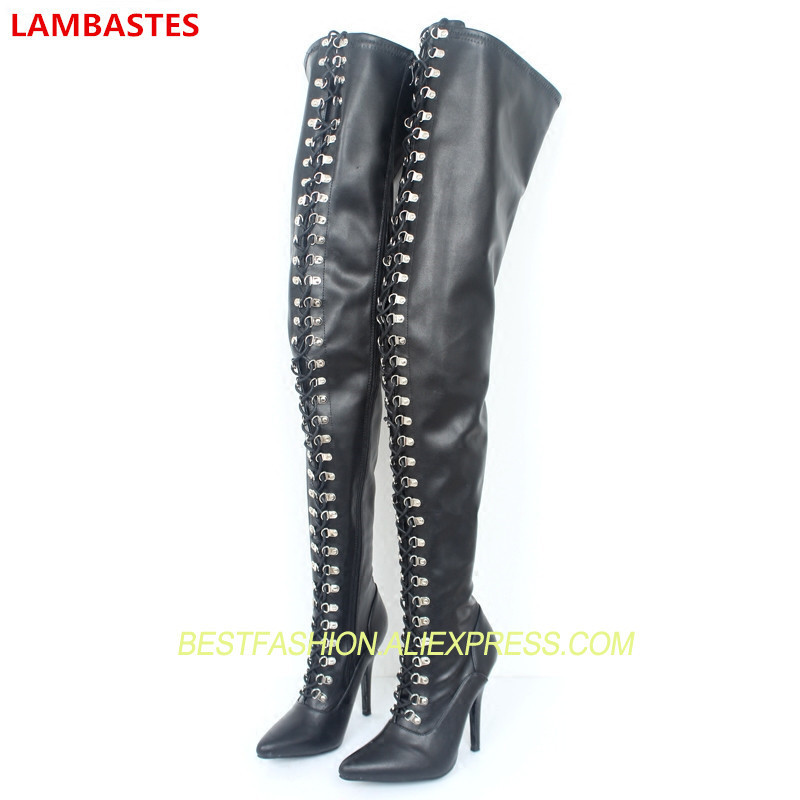 Sexy Woman Thigh High Boots Autumn Winter Pointed Toe Side Zip High Heels Over-the-knee Boots Design Runway Boots Plus Size Tide hot boots women sexy black thigh high boots peep toe soft leather back zip high heels over the knee boots gladiator sandal boots