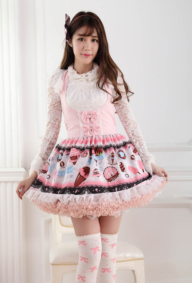 Japanese Super Cute Pink Ice Cream Printed Halter Neck Girl's Lace Lolita Dress/Jumper Skirt Free Shipping