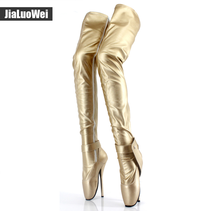 "jialuowei extreme high heel 18cm/7"" Spkie Heel thigh high boot sexy Thin heels crotch boots patent leather fashion show boots"