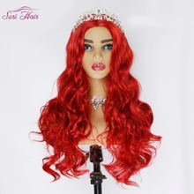 цена на Suri Hair 30 inch red wig for women synthetic hair wigs for African Americans long wavy wig cosplay hair no bangs Heat Resistant