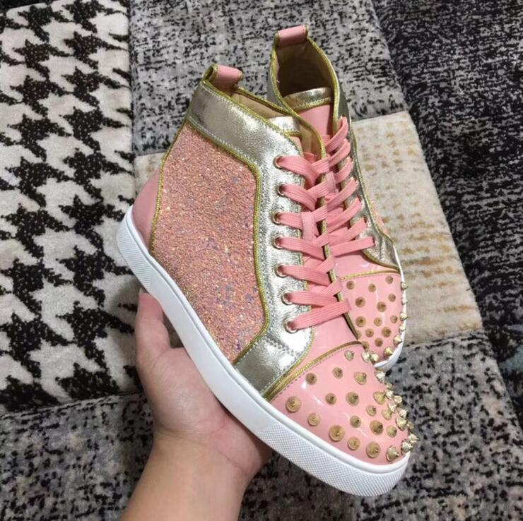 2018 Newest Pink Glitter Women Fashion High Tops Golden Leather Rim Ladies Lace Up Casual Shoes Spikes Cover Vulcanize Shoes in Women 39 s Vulcanize Shoes from Shoes