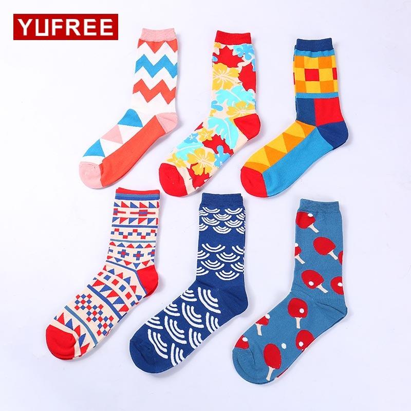Yufree 2018 MenS Funny Happy Socks Autumn Winter Men Fashion Cartoon Pattern Socks Hot Sale Male Socks 100% Cotton Socks Men