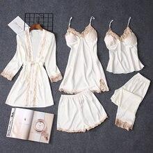 קיץ נשים פיג מה סטי 5 חתיכות תחרה סאטן הלבשת נקבה פיג מה חליפות משי רקמת שינה טרקלין Pyjama עם רפידות חזה