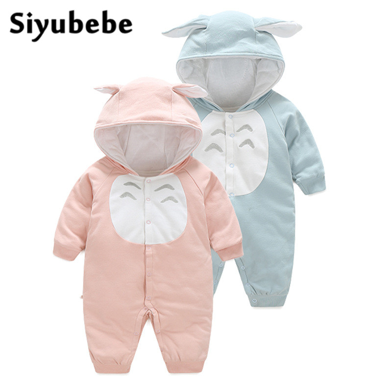 Siyubebe Baby Rompers Fashion Brand Cotton Ropa Bebe Romper Hooded Infant Girl Jumpsuit Kids Clothing Newborn Baby Boy Clothing newborn baby rompers high quality natural cotton infant boy girl thicken outfit clothing ropa bebe recien nacido baby clothes