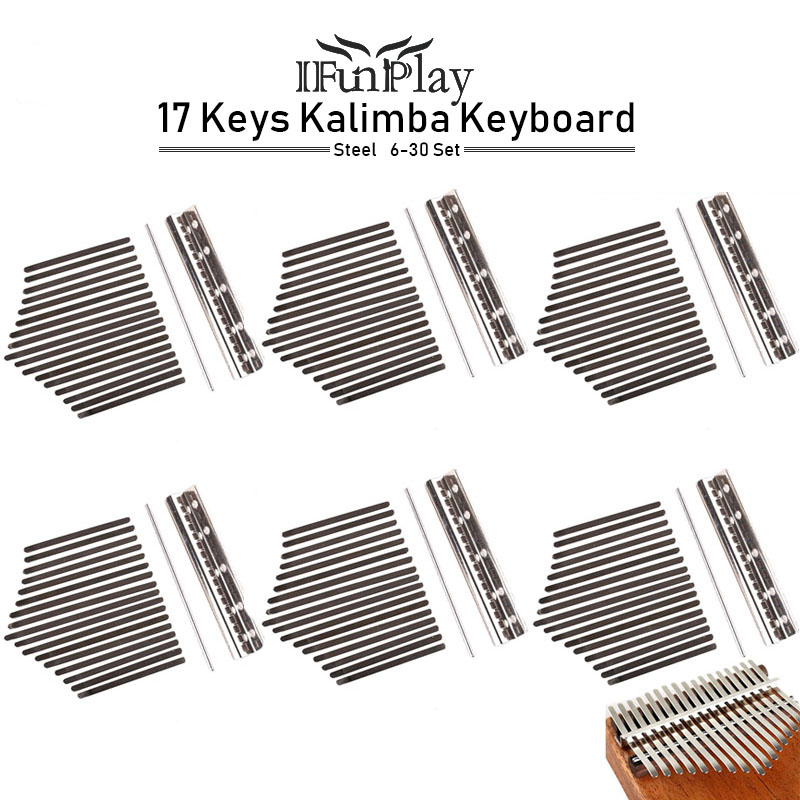 6Set 17 Keys Kalimba Keyboard High Quality Manganese Steel Kalimba Key Chrome Music Instrument Wholesale