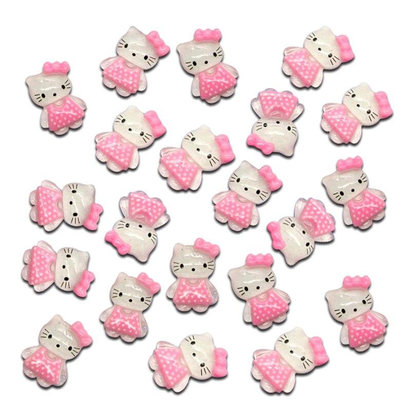 50 шт. Смешанные розовые кошки украшения из полимерной глины бусины кабошоны для скрапбукинга DIY детали для украшений пуговицы