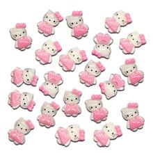50Pcs Mixed Pink Cats Resin Decoration Crafts Beads Flatback Cabochon Scrapbook DIY Embellishments Accessories Buttons
