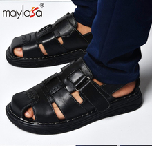 2017 New high quity Cow Leather Men Sandals Black Brown Hand Sewing Men Summer Shoes Breathable Beach Shoes Summer Men Shoes