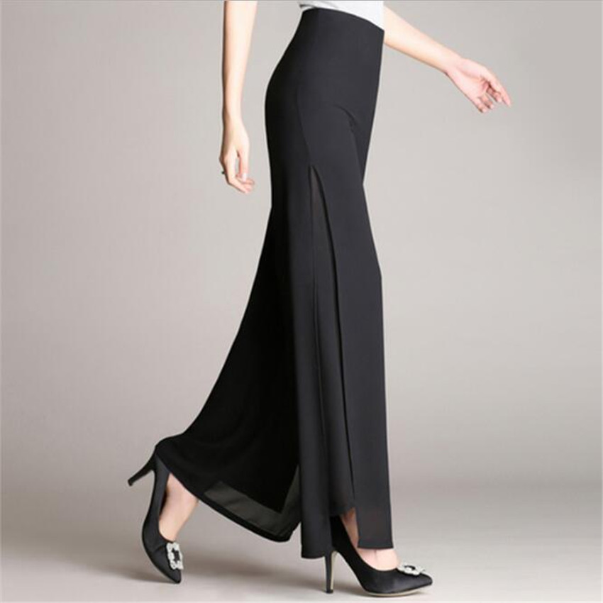 MLCRIYG High waist Double-deck Chiffon Broad leg pants Easy Pure color grace trousers female ...