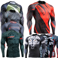 Muscle Men Compression Tight T Shirt Long Sleeves 3D Full Prints MMA Rashguard Fitness Base Layer