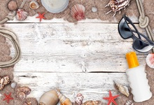 Laeacco Old Wooden Board Sands Shells Starfish Sunglass Photography Background Customized Photographic Backdrop For Photo Studio