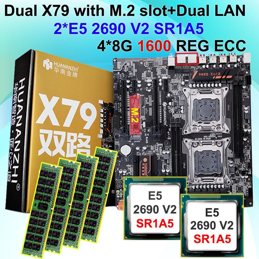 Bureau carte mère faisceau HUANAN ZHI double X79 carte mère avec M.2 NVMe SSD slot CPU Intel Xeon E5 2690V2 3.0 GHz RAM 32G (4*8G)
