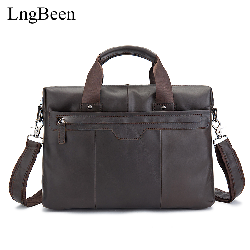 NEW Genuine Leather Coffee Men Briefcase 14 inch Laptop Business Bag Cowhide Men's Messenger Bags Luxury Lawyer Handbags LB8013 цена и фото