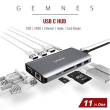 11 in 1 USB C Hub HDMI 4K RJ45 Ethernet LAN USB 3.0 MacBook Pro için Xiaomi Asus lenovo Laptop Huawei Mate 10 tip C dizüstü bilgisayar