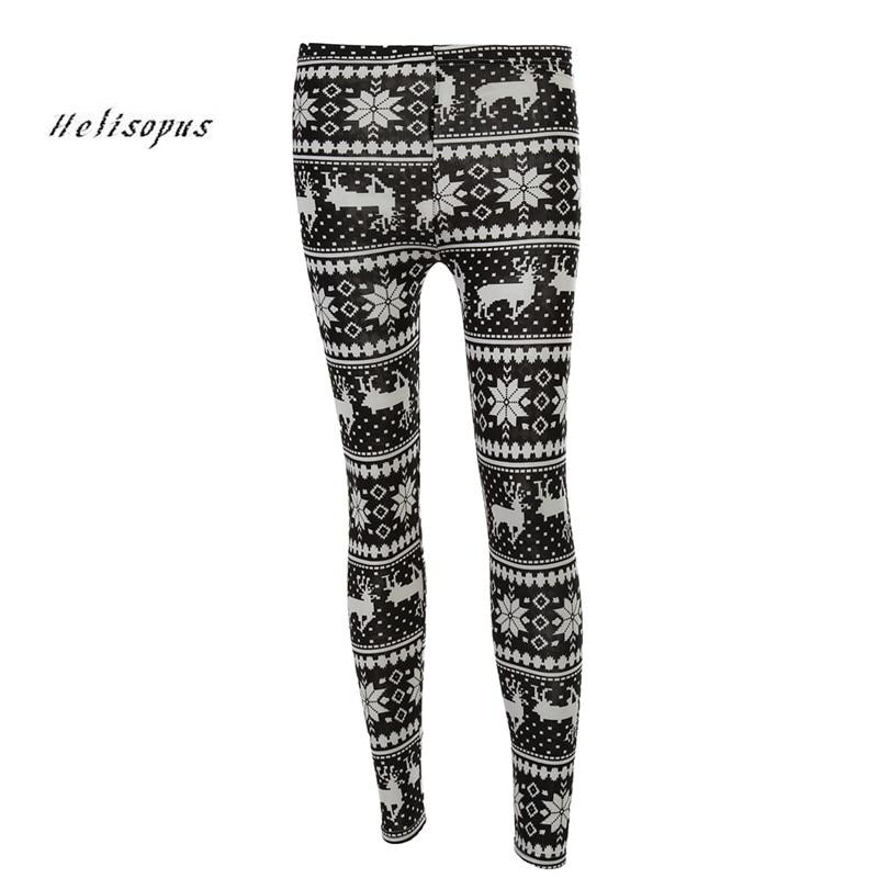 Helisopus Women Fashion Winter Warm   Leggings   High Elastic Snow Deer   Leggings   Christmas Snowflake Straight   Legging   Pants