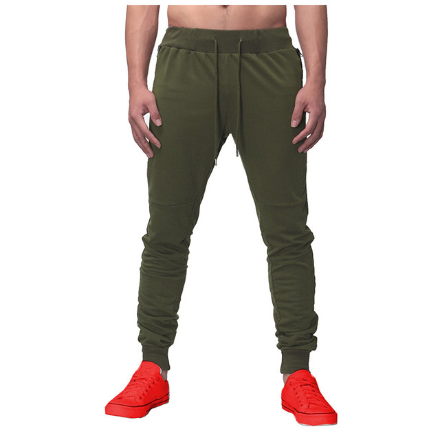 Skinny Sweatpants Men Pants Casual Elastic Polyester Mens Fitness Workout Pants Trousers Plus Size Pockets Solid Male Pants