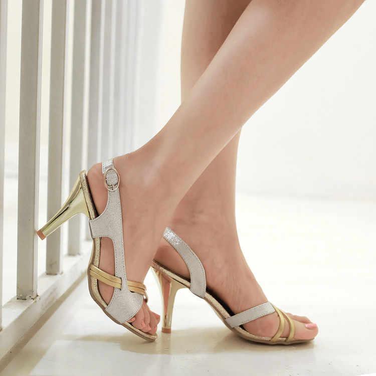2017 réel offre spéciale mode gladiateur sandales femmes Plus grande taille 34-43 sandales dames dame chaussures à talons hauts femmes pompes 5111