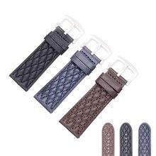 Rolamy 26mm Siyah Kahverengi Mavi Hakiki Deri Yedek Bilek Watchband Askı Kemer Band Bilezikler Invicta Panerai